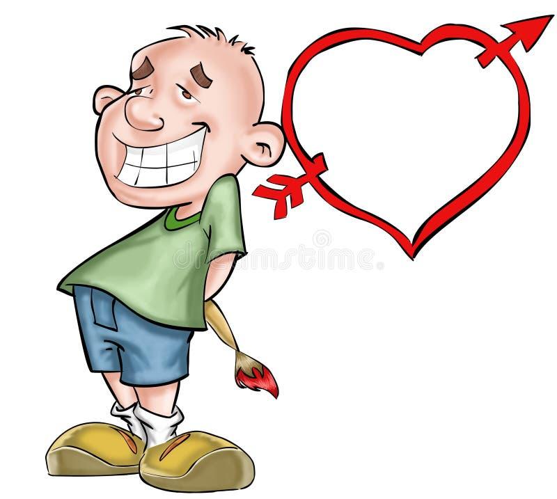 Menino e coração ilustração stock