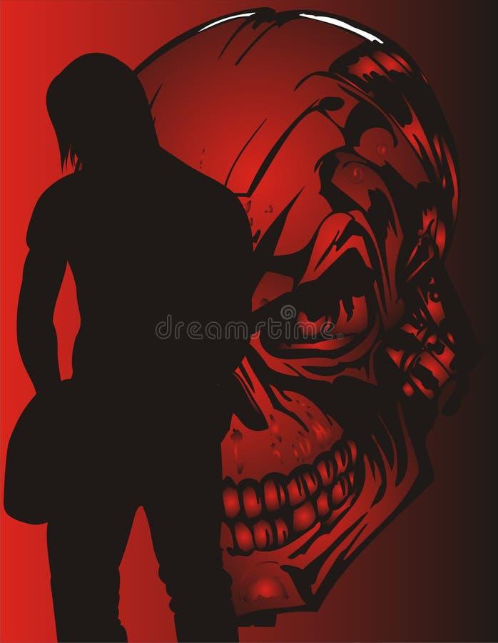 Menino e crânio da guitarra ilustração stock