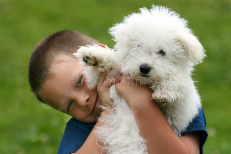 Menino e filhote de cachorro fotografia de stock royalty free