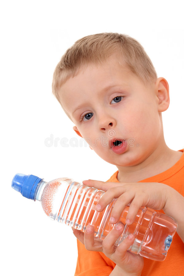 Menino e frasco da água fotos de stock royalty free