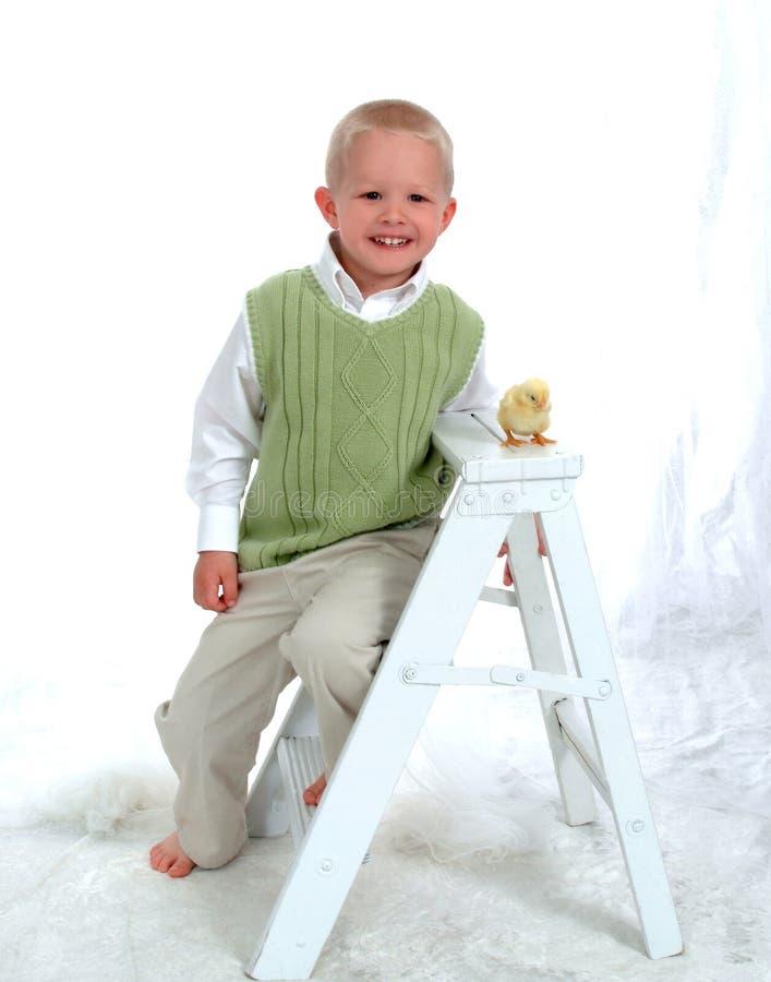 Menino e galinha de sorriso fotos de stock royalty free