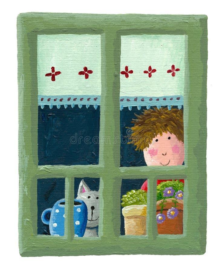 Menino e gato que olham através da janela ilustração royalty free