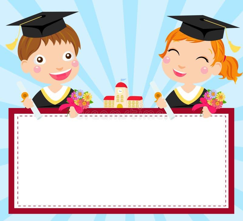 Menino e graduado e frame da menina ilustração do vetor