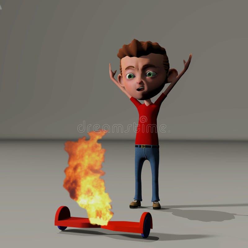 Menino e hoverboard ardente ilustração do vetor