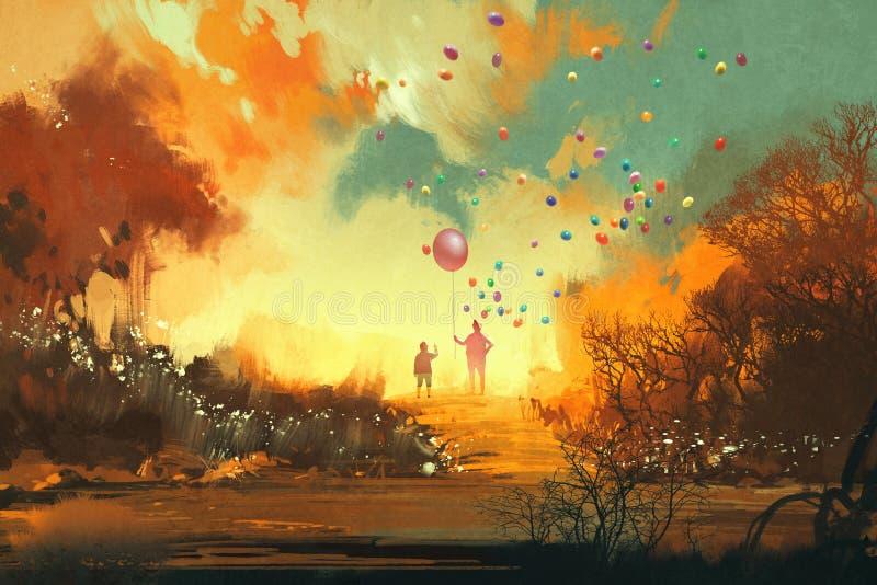 Menino e mágico que guardam o standng do balão em um trajeto da terra da fantasia ilustração do vetor