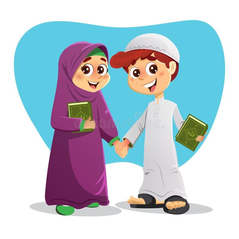 Menino e menina árabes com o livro santamente do Corão ilustração royalty free
