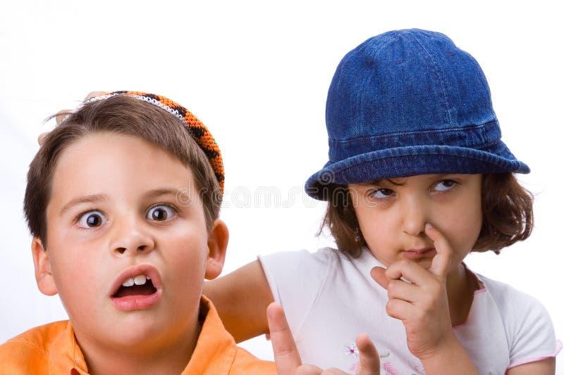 Menino e menina fotos de stock