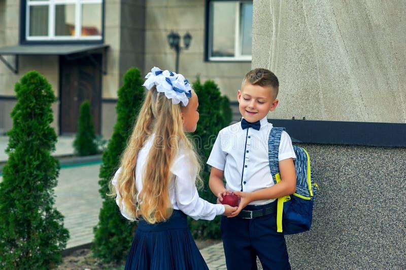 Menino e menina bonitos na farda da escola fotografia de stock