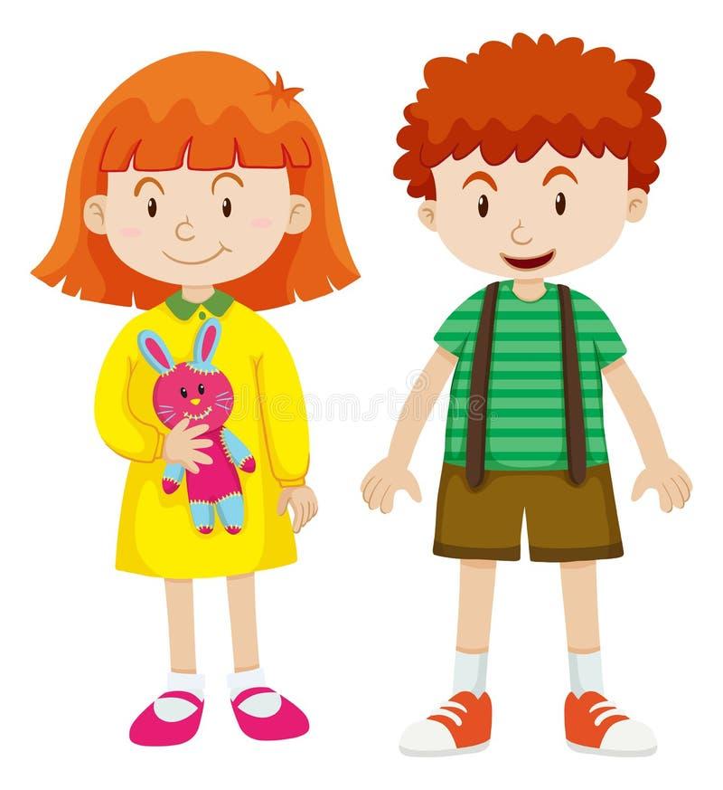 Menino e menina com cara feliz ilustração royalty free