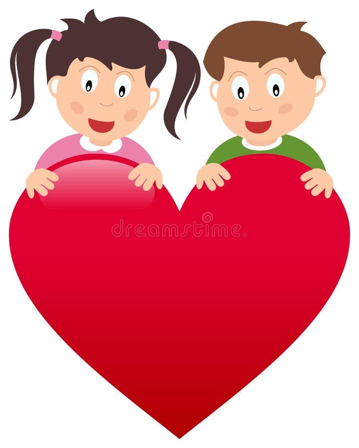 Menino e menina com coração grande ilustração royalty free
