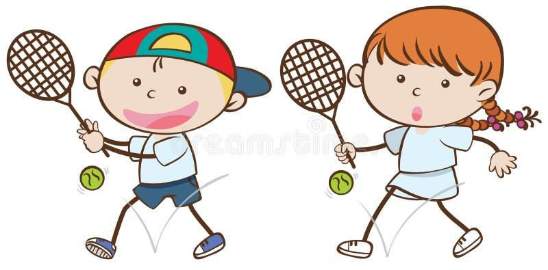 Menino e menina com raquetes de tênis ilustração royalty free