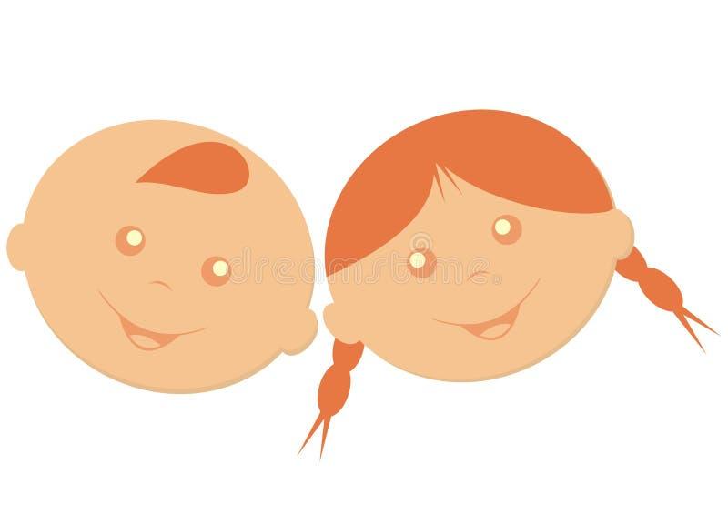 Menino e menina, crianças felizes, ícone do vetor ilustração stock
