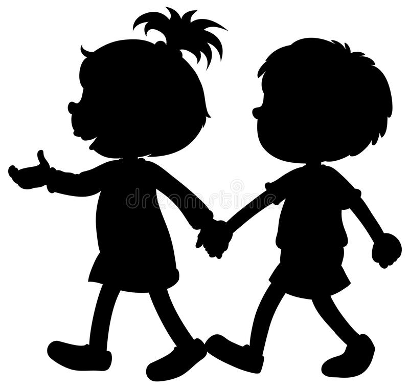 Menino e menina da silhueta que guardam as mãos ilustração stock