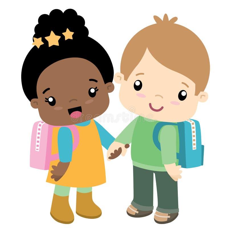 Menino e menina de escola que guardam o cartão do dia de Valentim das mãos ilustração do vetor