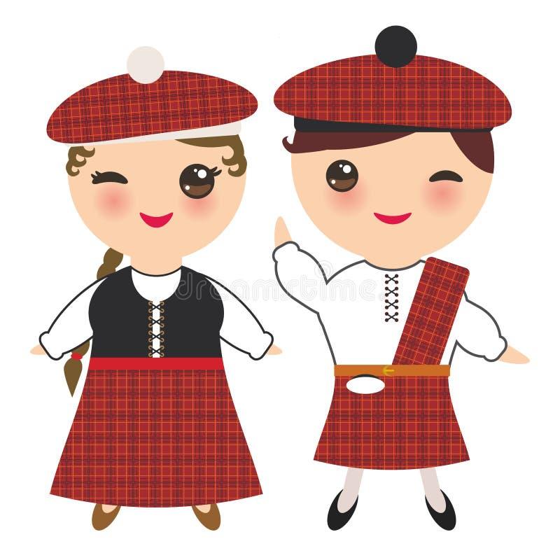 Menino e menina do Scotsman no traje e no chapéu nacionais As crianças dos desenhos animados em Escócia tradicional vestem-se, gu ilustração do vetor