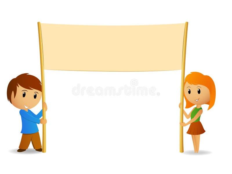 Menino e menina dos desenhos animados com poster em branco ilustração do vetor