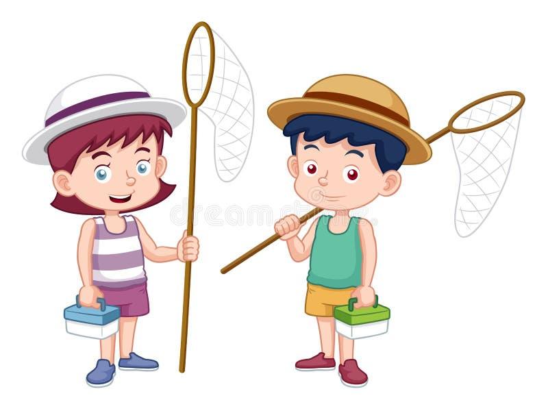 Menino e menina dos desenhos animados com rede do inseto ilustração royalty free
