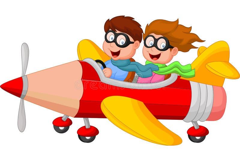 Menino e menina dos desenhos animados em um avião do lápis ilustração royalty free