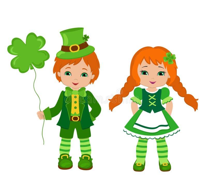 Menino e menina em trajes irlandeses Dia do St Patrick ilustração do vetor