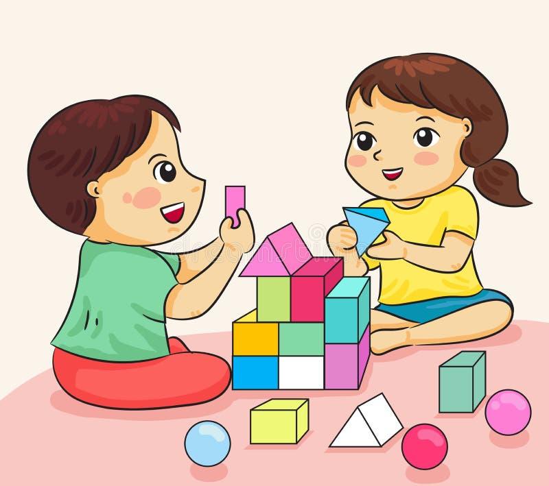 Menino e menina felizes ao jogo com construção do vecto colorido do bloco ilustração do vetor