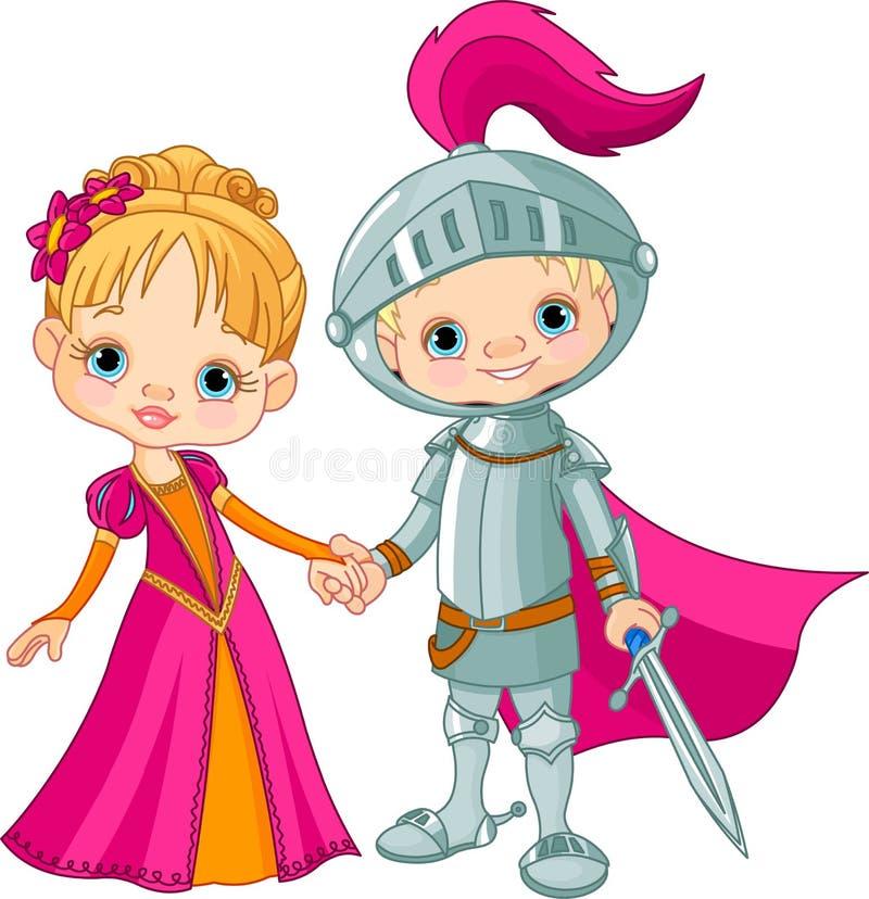 Menino e menina medievais ilustração do vetor