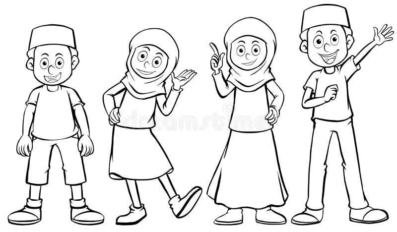 Menino e menina muçulmanos com cara feliz ilustração do vetor