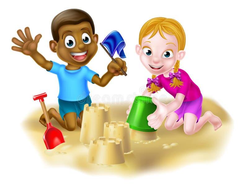 Menino e menina na praia ilustração stock