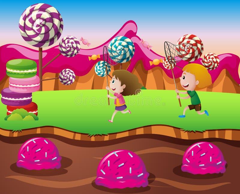 Menino e menina na terra dos doces ilustração do vetor