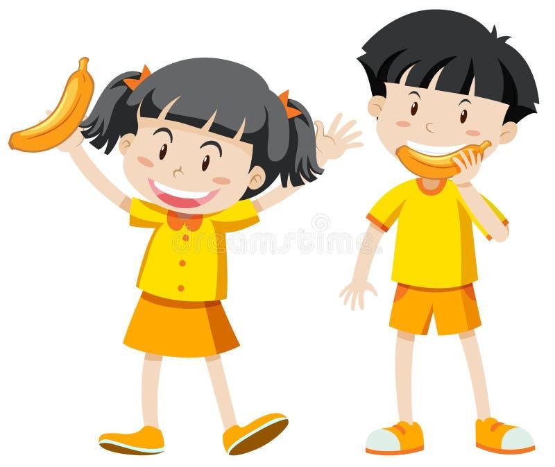 Menino e menina no equipamento amarelo com banana ilustração royalty free