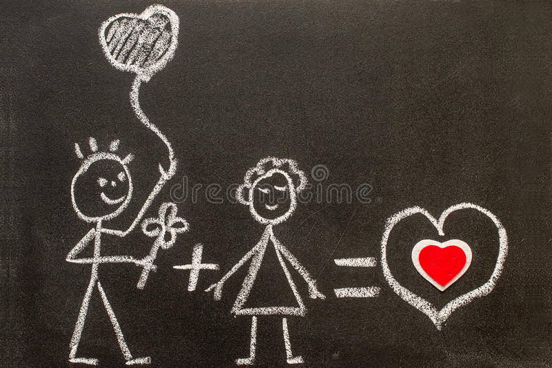 Menino e menina no quadro Amor doce Amor creativo ilustração stock