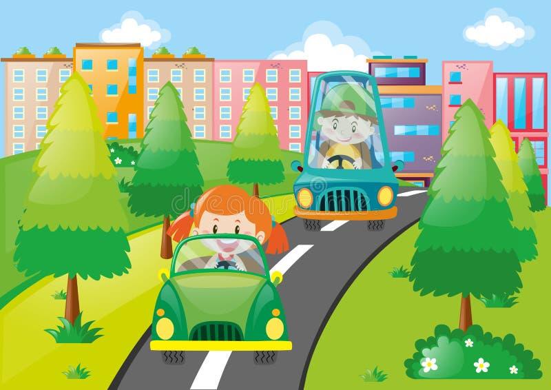 Menino e menina que conduzem carros no parque ilustração do vetor