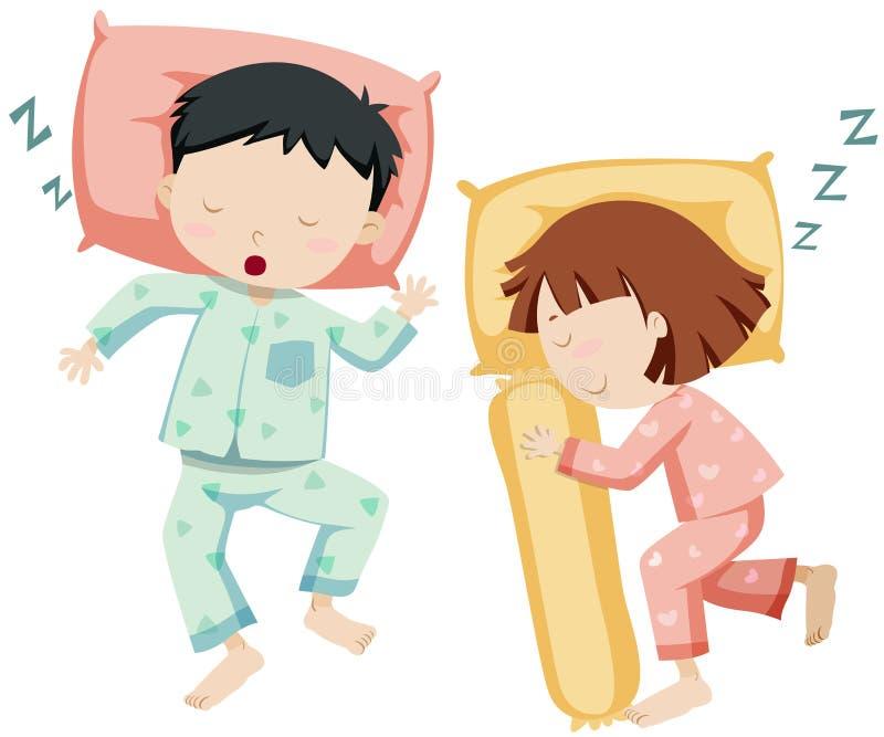 Menino e menina que dormem de lado a lado ilustração stock