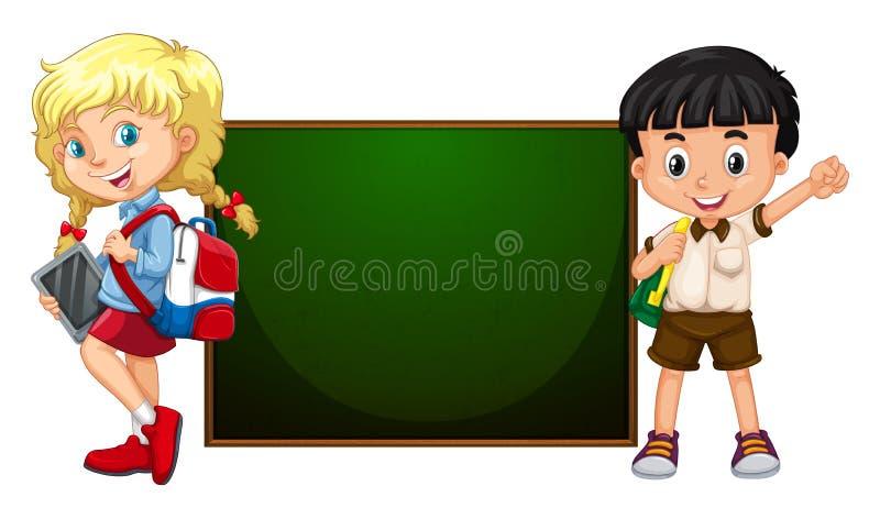 Menino e menina que estão pela placa ilustração stock