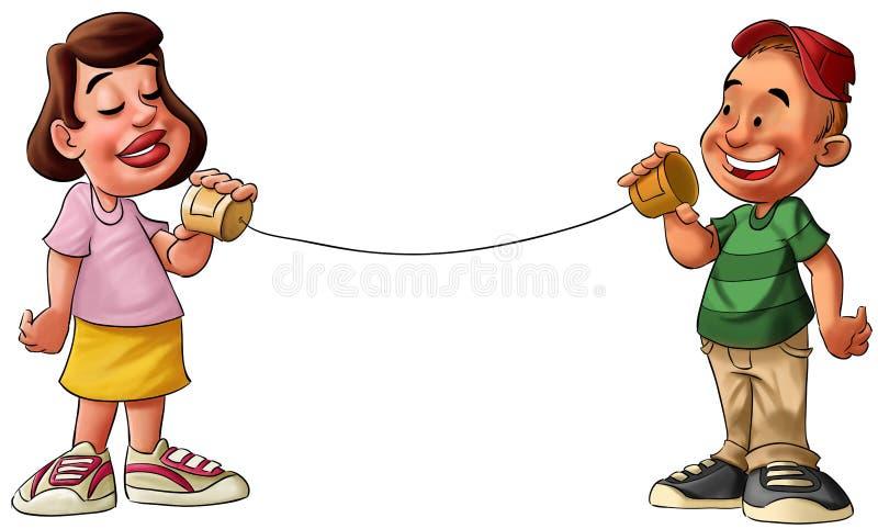 Menino e menina que falam em uma lata de estanho ilustração do vetor