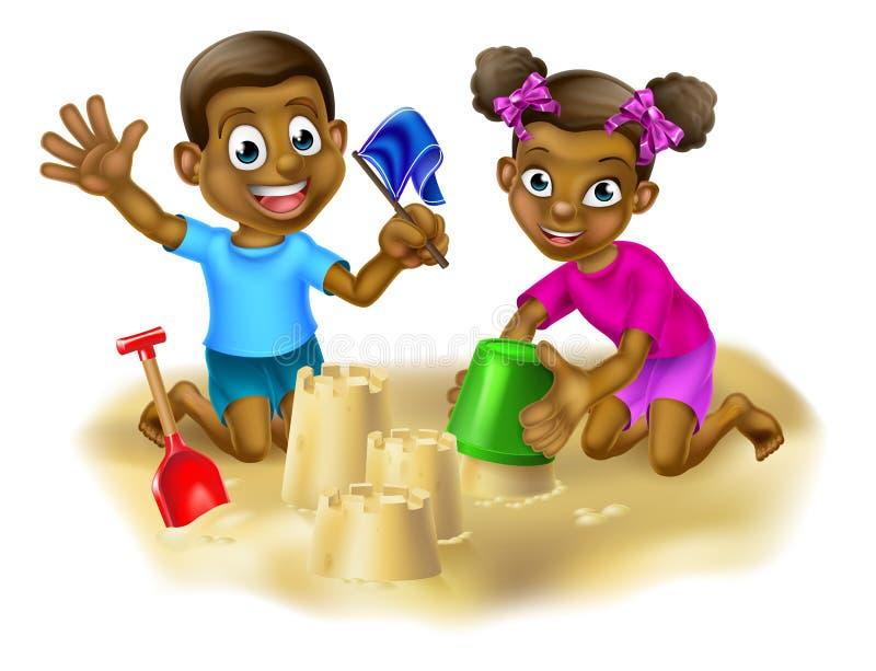 Menino e menina que fazem castelos da areia ilustração do vetor