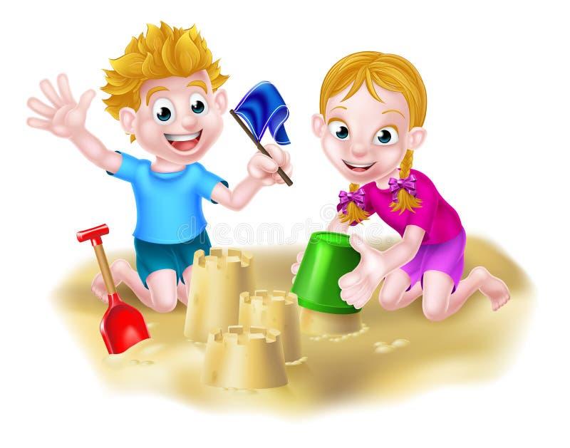 Menino e menina que jogam na areia ilustração do vetor