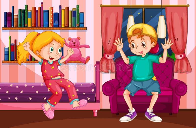 Menino e menina que jogam no quarto ilustração royalty free
