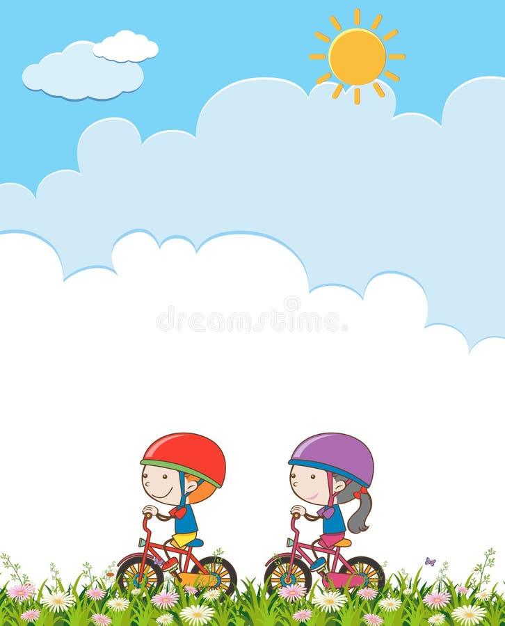 Menino e menina que montam uma bicicleta ilustração royalty free