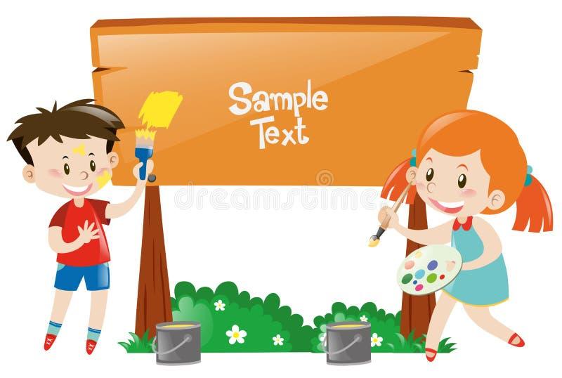Menino e menina que pintam o sinal de madeira ilustração stock