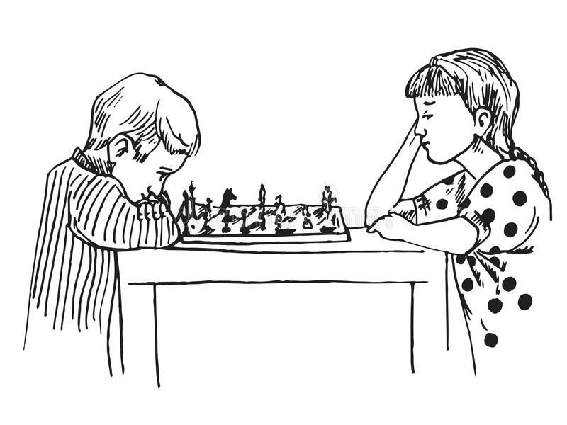 Menino e menina que sentam e que jogam a xadrez ilustração royalty free