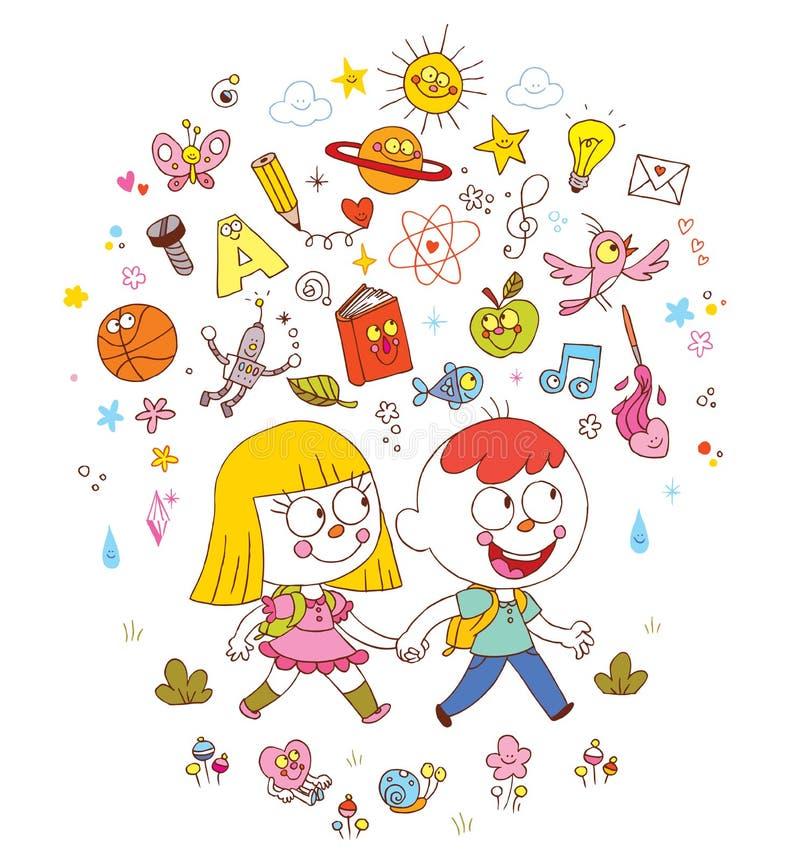 Menino e menina que vão à escola - aprendendo a ilustração do conceito da educação ilustração do vetor