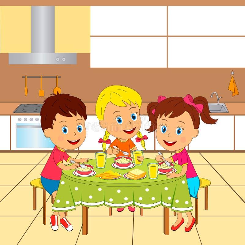 Menino e meninas na cozinha ilustração stock