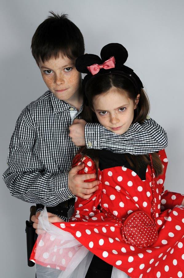 Menino e Minnie Mouse fotografia de stock