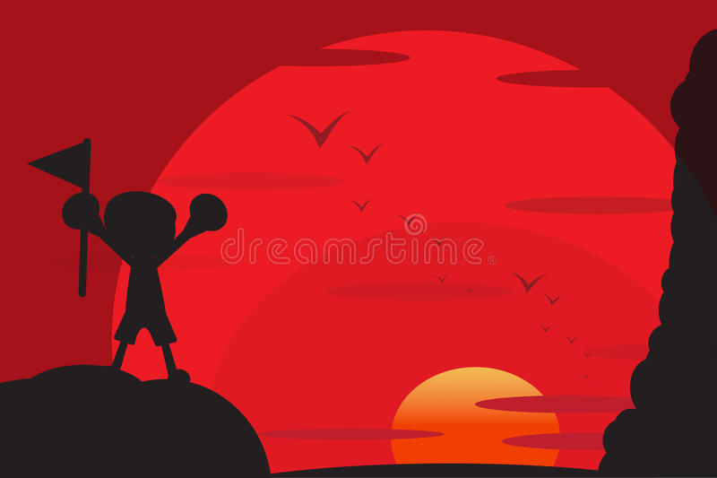 Menino e o por do sol ilustração royalty free