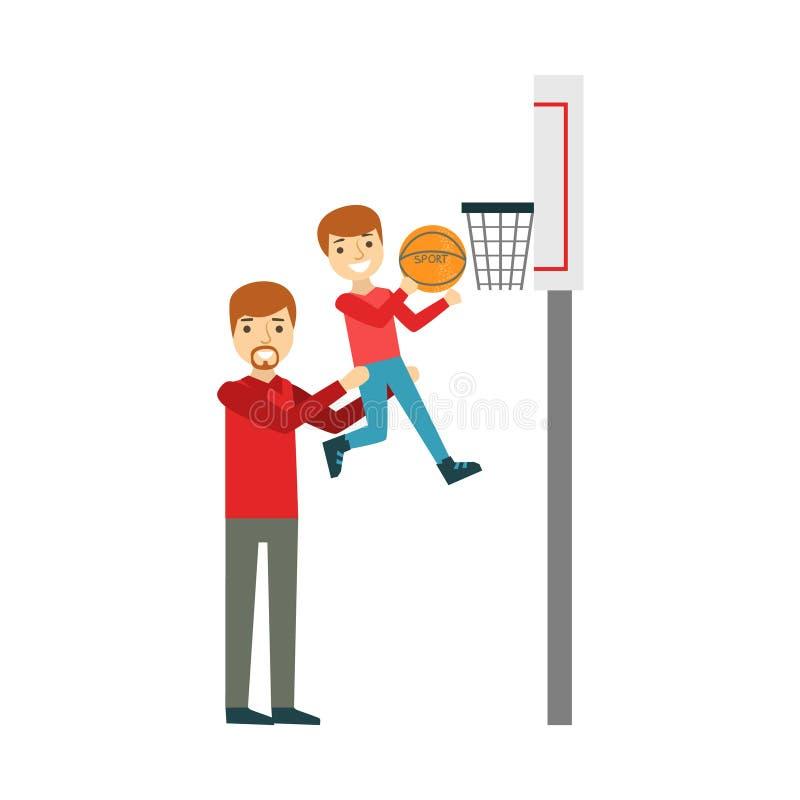 Menino e pai Playing Basketball, família feliz que tem a boa ilustração do tempo junto ilustração royalty free