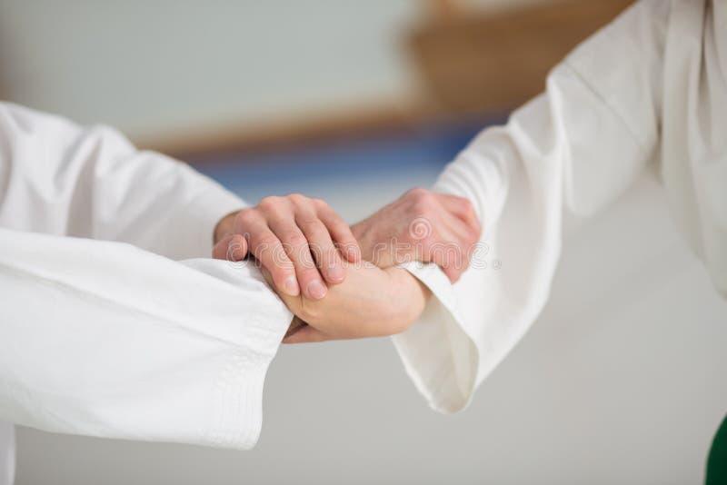 Menino e professor do aikido que agita as mãos antes de começar a luta fotografia de stock