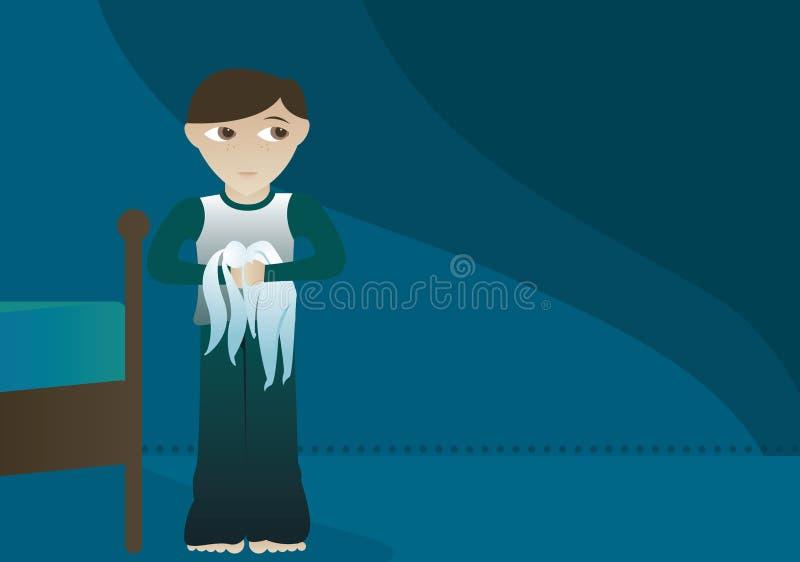 Menino e seu coelho ilustração do vetor