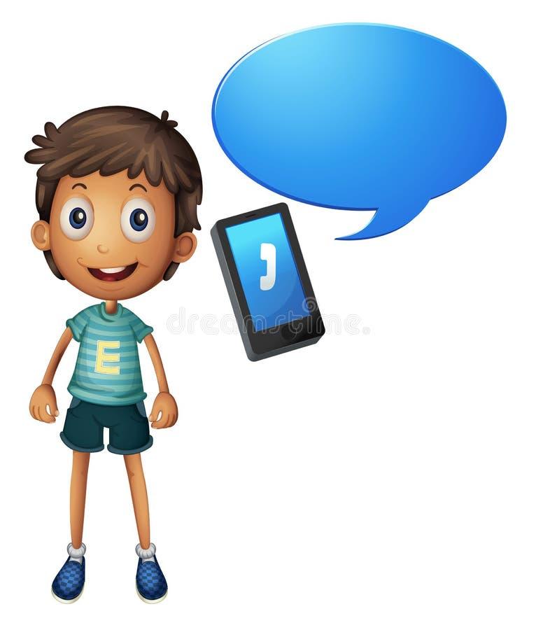 Menino e telemóvel ilustração royalty free