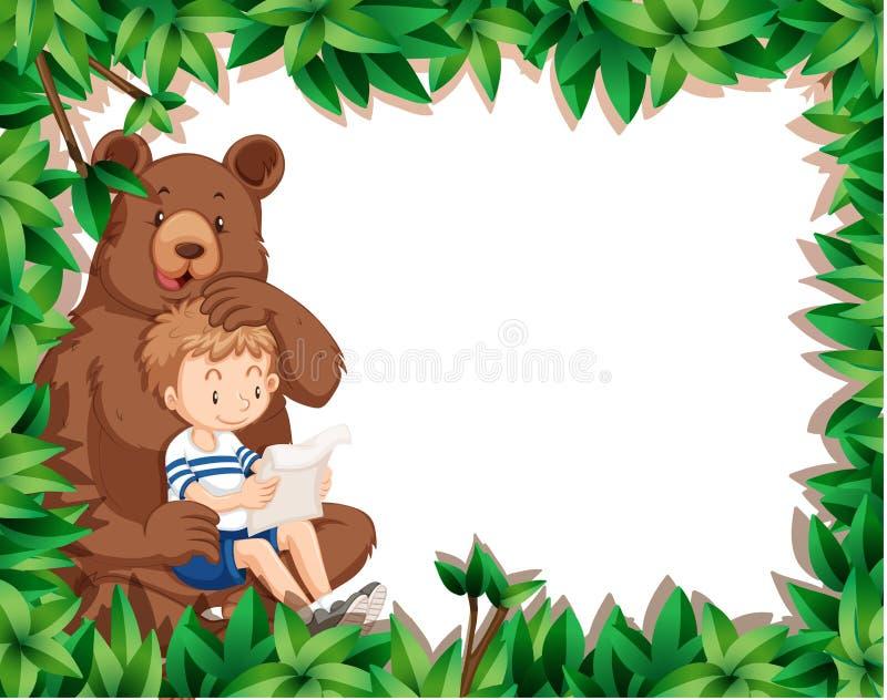 Menino e urso na beira da natureza ilustração royalty free