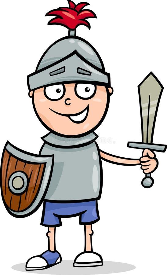 Menino em desenhos animados do traje do cavaleiro ilustração do vetor